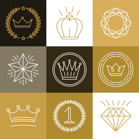 Set of linear gamification badges  Illustration