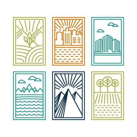 lijn badges met landschappen en natuur pictogrammen