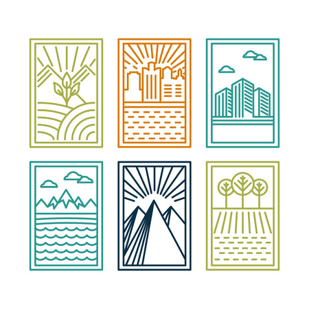 nature: line badges with landscapes and nature icons