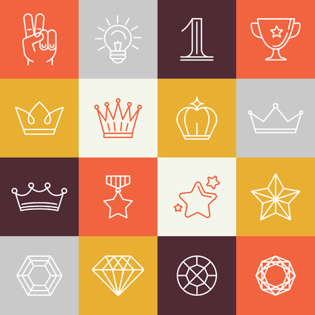 crown silhouette: winner awards and victory signs  Illustration