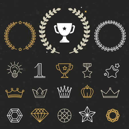 Collection of winner awards and victory signs