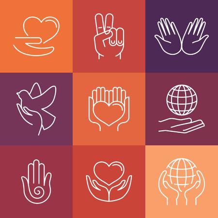 paloma: Iconos y signos de l�nea Vector de caridad - voluntariado y de apoyo de la organizaci�n iconos