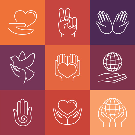 peace label: Vector charity line icons and signs - volunteer and support organization icons
