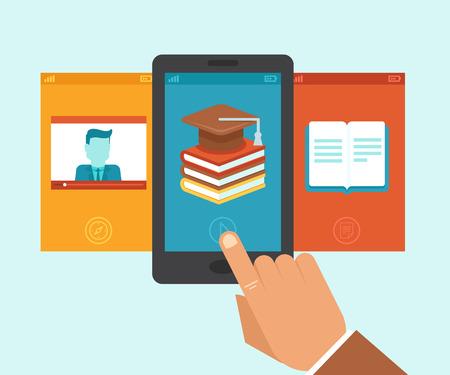 Vector e-learning y la educación aplicación en la pantalla del teléfono móvil - ilustración en estilo plano Ilustración de vector