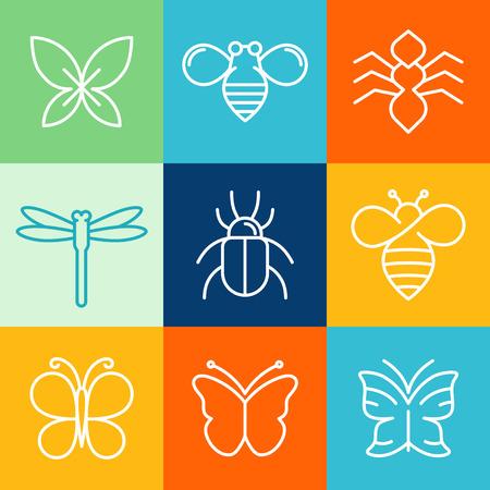 mariposa: Vector insectos y bichos icono elementos de dise�o - iconos de l�nea mono y signos