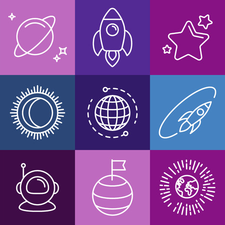 spaceship: Vector cosmic signs and line icons - space icons and design elements