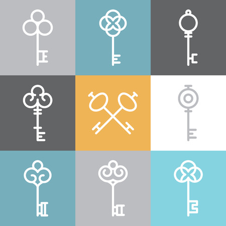 old keys: Vector key icons and signs in linear style - abstract design elements Illustration