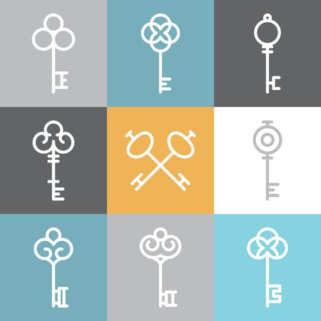 Vector sleutel pictogrammen en symbolen in lineaire stijl - abstract ontwerp elementen