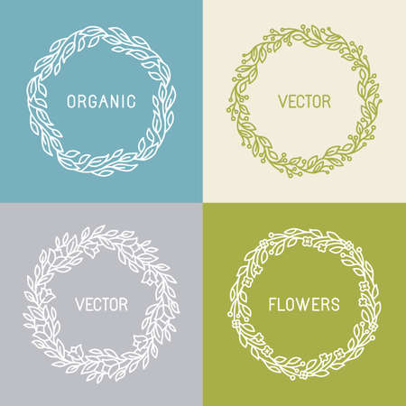 Vector floral wreaths and linear borders - abstract design template for icons and insignias