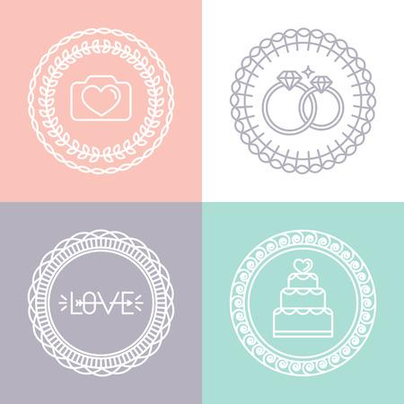 verlobung: Vector Hochzeits-und Linien Symbole Illustration