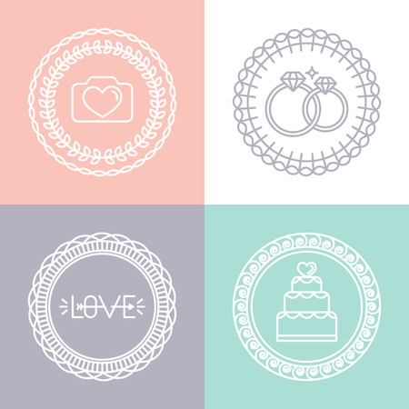 circle design: Vector wedding and engagement line icons