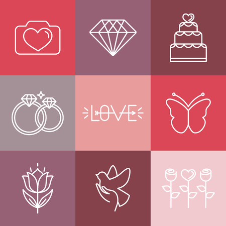Vector wedding and engagement line icons Vector