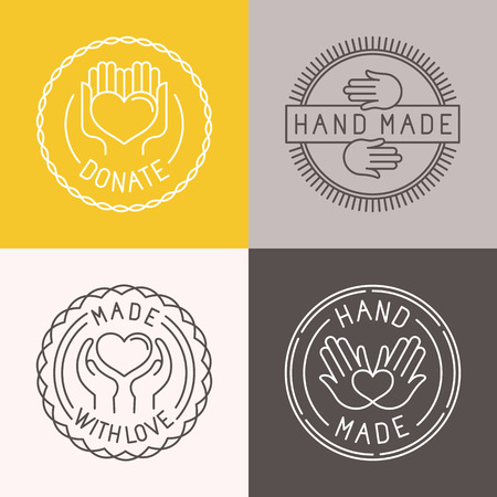 hand made: Vector hand made labels and badges in linear trendy style - hand made, made with love, donate