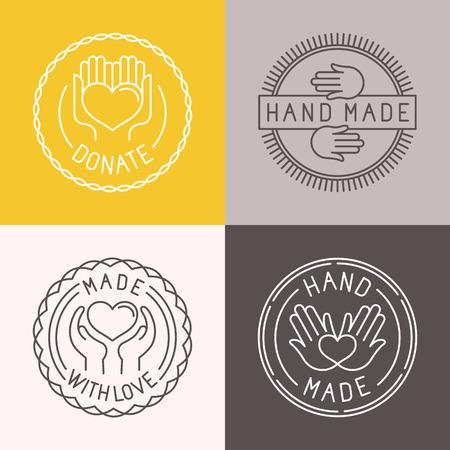 insignia: Vector mano hizo etiquetas y escudos en el estilo de moda lineal - hecho a mano, hechos con amor, donar