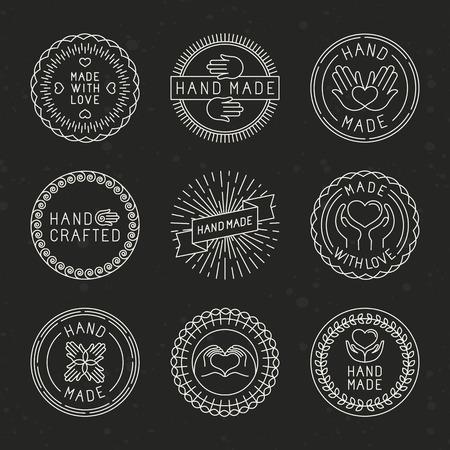Vector conjunto de insignias lineales y elementos de diseño del logotipo - hecho a mano, hechos con amor y artesanal