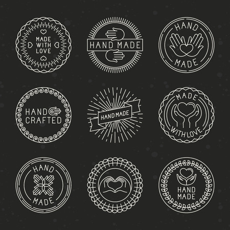 Vector set of linear badges and logo design elements - hand made, made with love and handcrafted Vectores