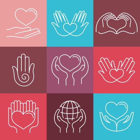 paloma: Vector amor y cuidado emblemas redondas en estilo lineal - hecho a mano y de caridad - iconos para las organizaciones sin fines de lucro Vectores