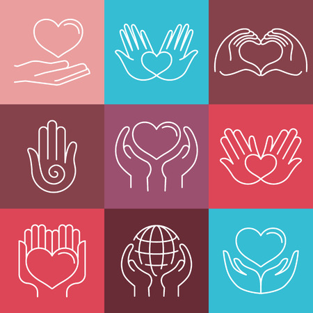 Vector love and care round emblems in linear style - hand made and charity - icons for non-profit organizations Vettoriali