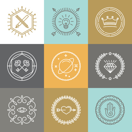 crown logo: Vector abstract hipster signs and logo design elements in linear style