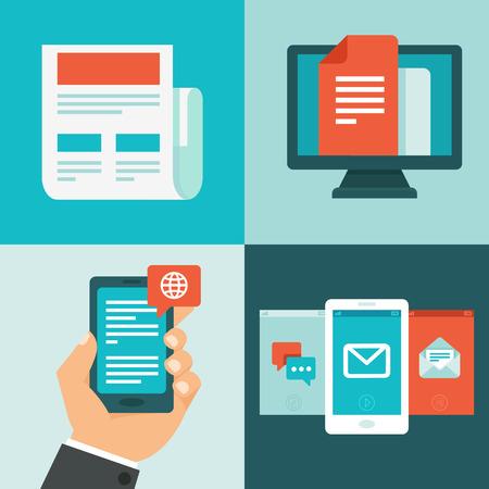 medios de comunicaci�n social: Bolet�n Vector concepto en planos estilo - noticias, actualizaciones y mensajes