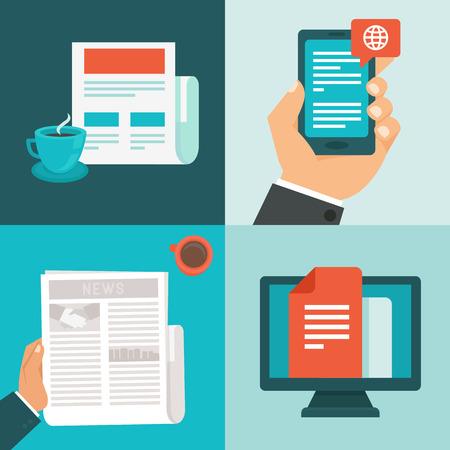 Vector nieuws concepten in vlakke stijl - nieuwsbrief en bericht app - mobiele telefoon en computer Stock Illustratie