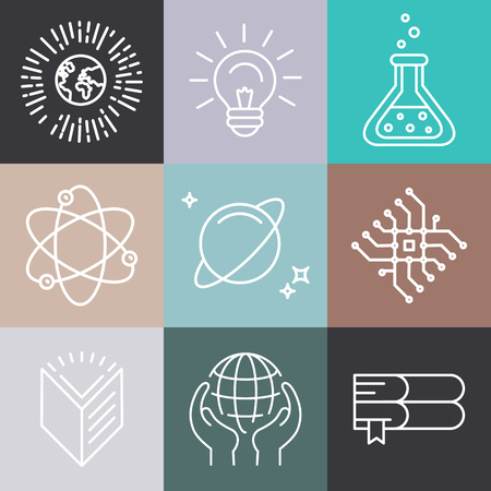 medical education: Vector linear science related icons and logo design elements