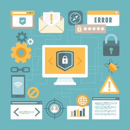 Vecteur Internet et le concept de sécurité de l'information dans le style plat - foot éléments de conception et les icônes Banque d'images - 36628913