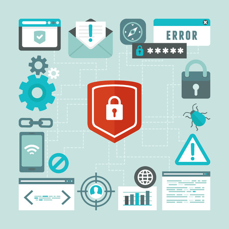 ddos: Vector internet and information security concept in flat style - infographics design elements and icons
