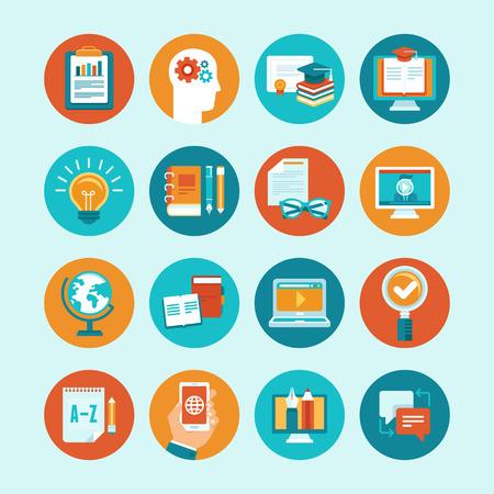 벡터 평면 스타일 교육 아이콘 및 징후 - 인터넷 교육 및 세미나를위한 온라인 교육의 개념과 그림 일러스트