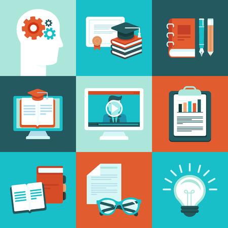 educaci�n en l�nea: Conceptos de educaci�n en l�nea y las ilustraciones para los entrenamientos de internet y webinars - iconos educativos y signos en estilo plano vectorial