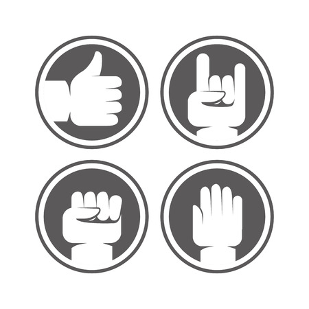 gestures: Vector hands and gestures signs in black and white colors - protest and power