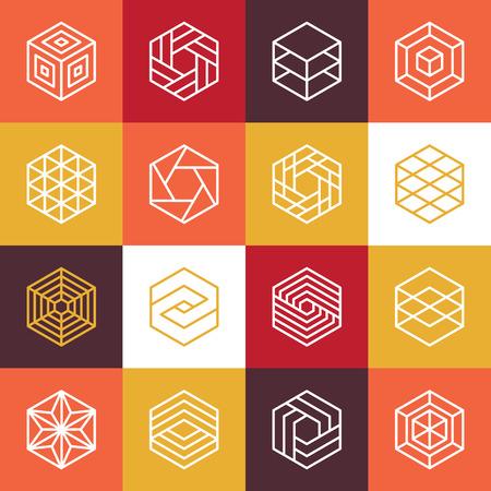 Vectoriales lineales hexagonales y elementos de diseño - iconos abstractos para diferentes tecnologías de negocios y