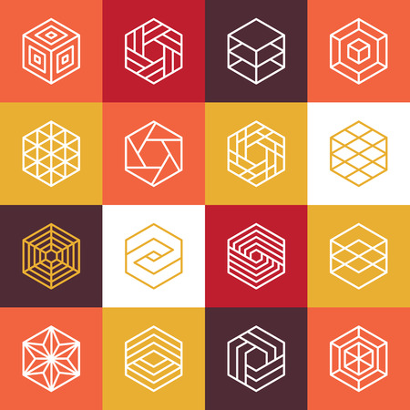 cubo: Vectoriales lineales hexagonales y elementos de diseño - iconos abstractos para diferentes tecnologías de negocios y