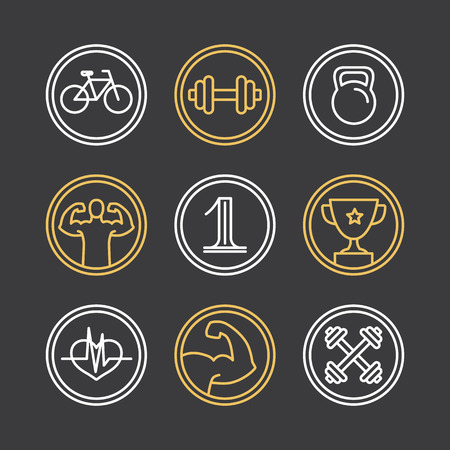 workout gym: Vector crossfit and emblems - linear icons and design elements for sport industry and gyms