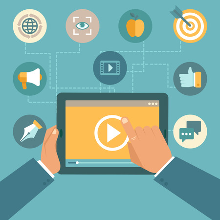 video player: Vector video marketing concept in flat style - video player on the screen of tablet pc - infographics design element