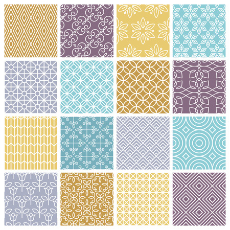 geometric shapes: Vector seamless patterns set in trendy mono line style - 16 minimal and geometric textures Illustration