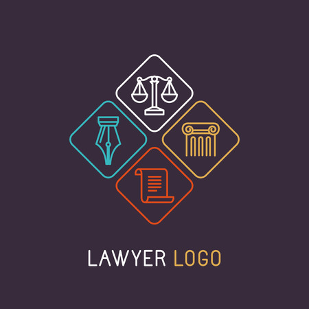 business law: Vector linear and icon for lawyer or judical company