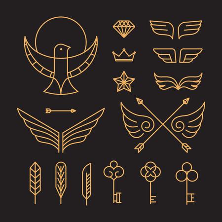 bordes decorativos: Vector conjunto de emblemas de esquema e insignias - plantillas inconformista abstractos