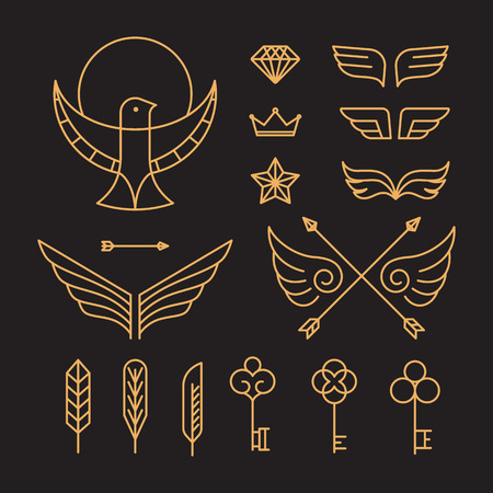 Key icon: Vector set of outline emblems and badges - abstract hipster templates