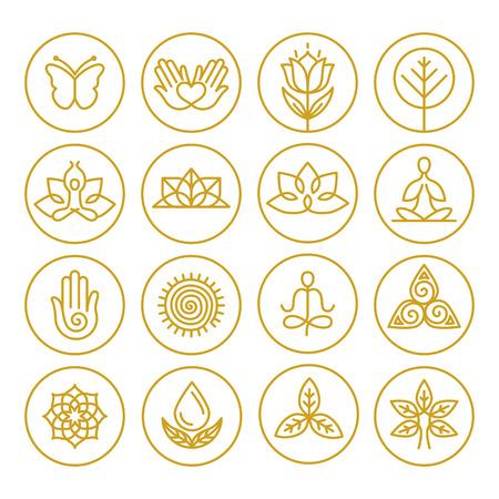 Ícones do vetor de ioga e de linha de emblemas redondos - elementos do design gráfico no estilo esboço ou os modelos para centro de spa ou estúdio de ioga