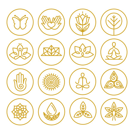 lotus pose: Vector yoga icons and round line badges - graphic design elements in outline style or templates for spa center or yoga studio