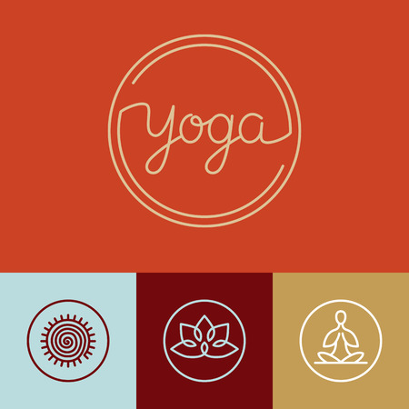Vector linear yoga- icons and design elements in trendy style for spa center or yoga studio