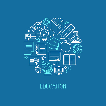 education icons: Vector linear logo design template - online education and university concept in trendy outline style
