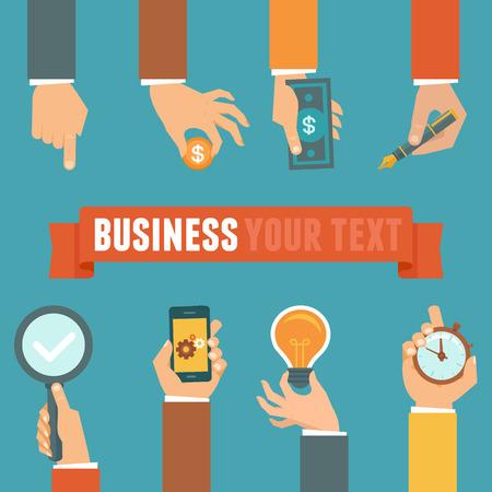 ベクトル ビジネスとフラット スタイル - における経営概念実業家とテキストのコピー スペースとバナーの手します。  イラスト・ベクター素材
