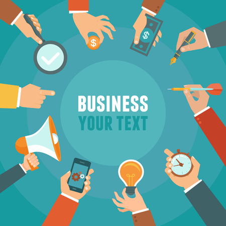 partners: Vector business and management concept in flat style - banner with copy space for text with businessman hands Illustration