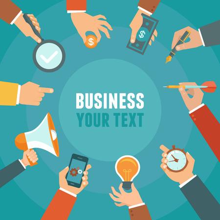 cronometro: Vector concepto de negocio y la gesti�n en estilo plano - banner con copia espacio para el texto con manos de negocios