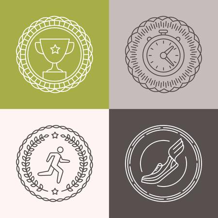 ベクトルの線形 runnig バッジとアイコン - マラソンのアウトライン スタイルでスポーツ イラスト  イラスト・ベクター素材