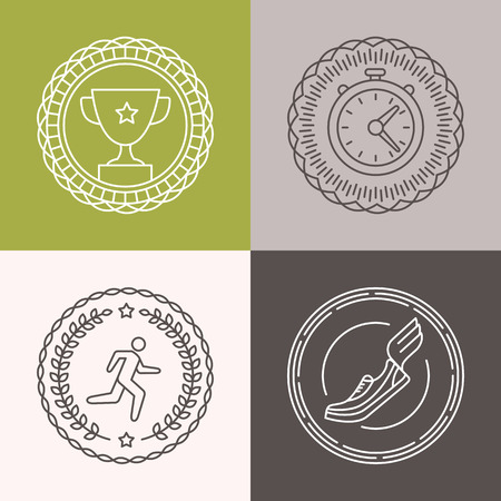 marathon: Vector linear runnig badges and icons - sport illustrations in outline style for marathons