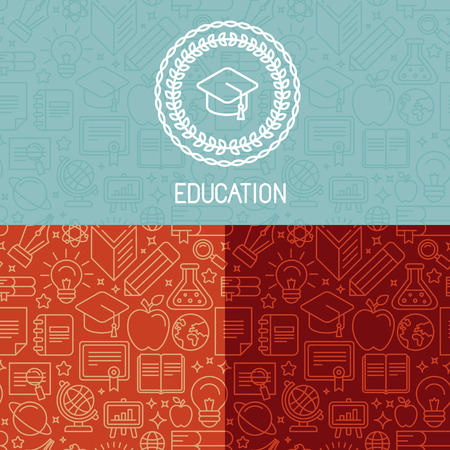 Vector educational design and seamless patterns in trendy mono line style