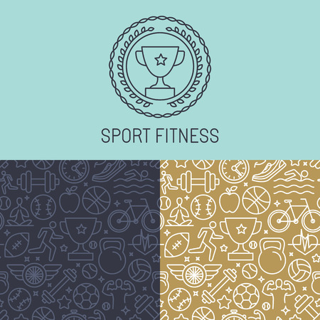 Vector sport badge and seamless pattern in trendy mono line style - abstract background with linear icons Vector